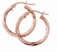 9ct Rose Gold Twisted Hoops 19mm